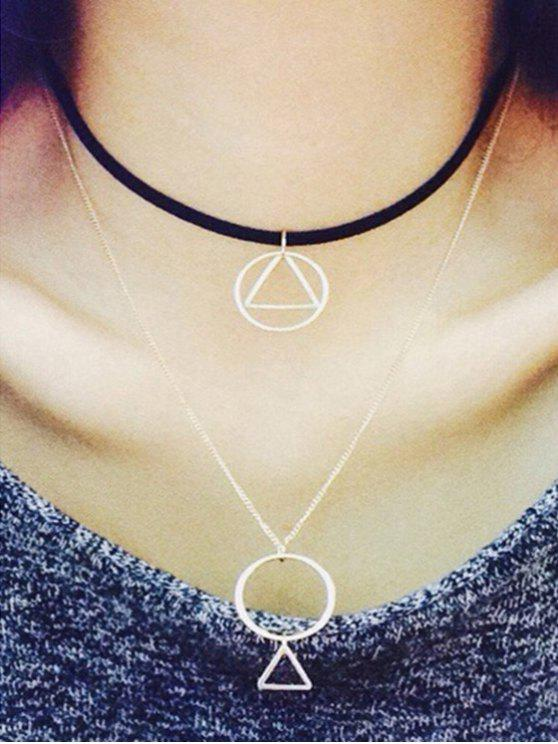 new Hollow Round Triangle Pendant Double Necklace - BLACK