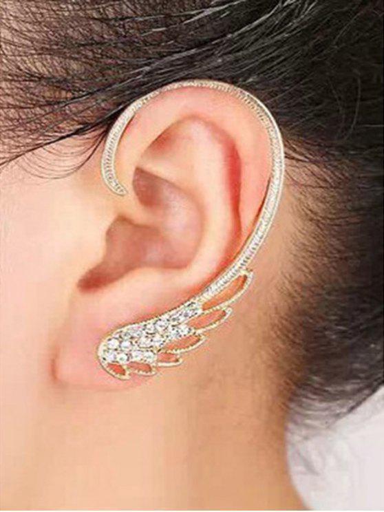 Diamantes de imitación Hollow Alas pendientes de clip - Dorado