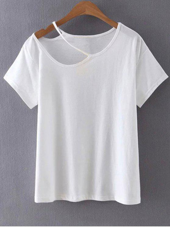 Cut Out Round Collar Short Sleeve T-Shirt - White S