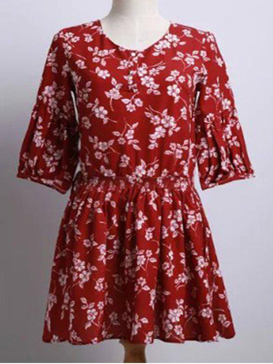 Flor pequena impressão em torno do pescoço vestido de manga Puff - Vermelho M