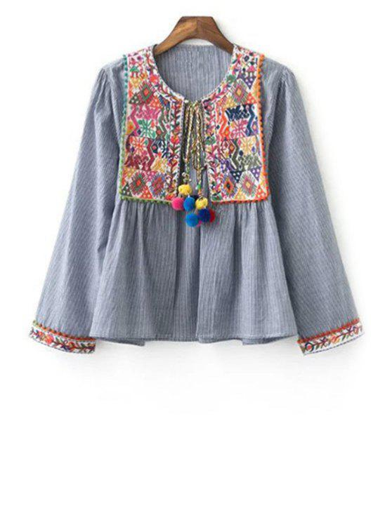womens Ethnic Embroidery Round Neck Long Sleeve Coat - GRAY S