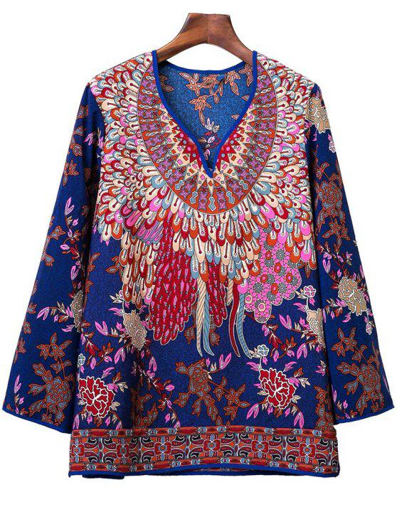affordable Printed Long Sleeve V-Neck Blouse - DEEP BLUE M