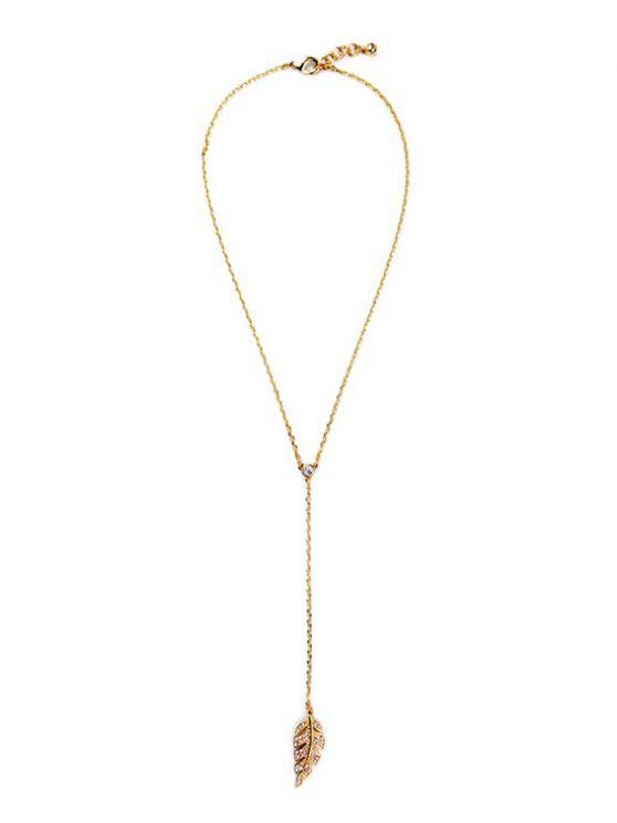 sale Vintage Long Style Leaf Necklace - GOLDEN