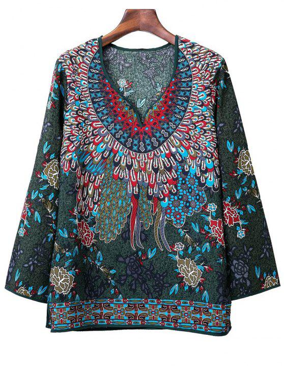 fancy Printed Long Sleeve V-Neck Blouse - BLACKISH GREEN M