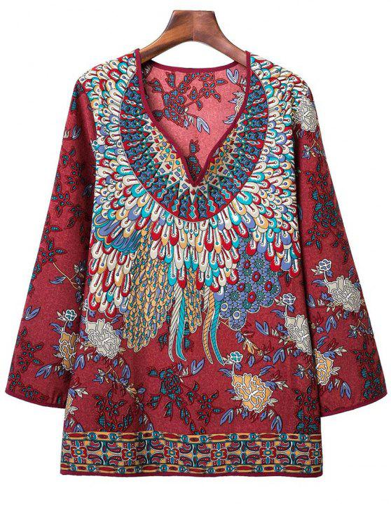 trendy Printed Long Sleeve V-Neck Blouse - DARK RED M