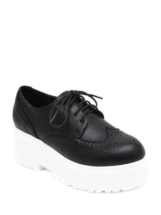 Grabado en color sólido con cordones de zapatos de plataforma - Negro 35