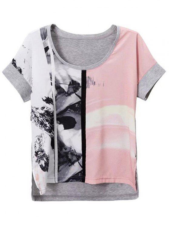 women's Printed Scoop Neck Short Sleeve Loose T-Shirt - GRAY L