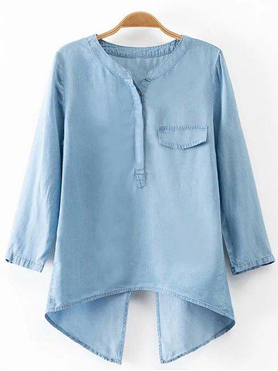 ladies Back Slit Stand Neck 3/4 Sleeve Denim Blouse - LIGHT BLUE S