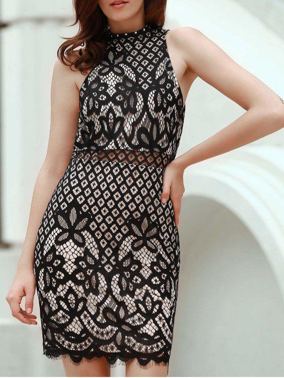 Vestido de Vaina con Encaje Ahuecado con Cuello Simulado - Negro M