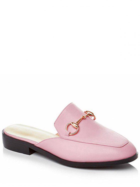 best Metal Solid Color Flat Heel Sandals - PINK 39