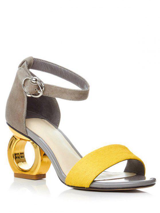 shop Color Block Ankle Strap Strange Heel Sandals - YELLOW 38