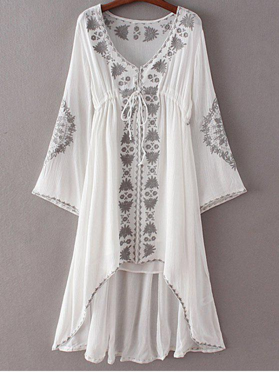 fashion High-Low Hem V-Neck Long Sleeve Embroidery Dress - WHITE L