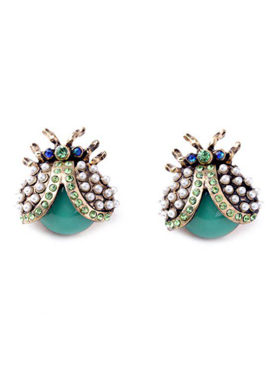hot Faux Pearl Rhinestone Ladybug Earrings - COLORMIX