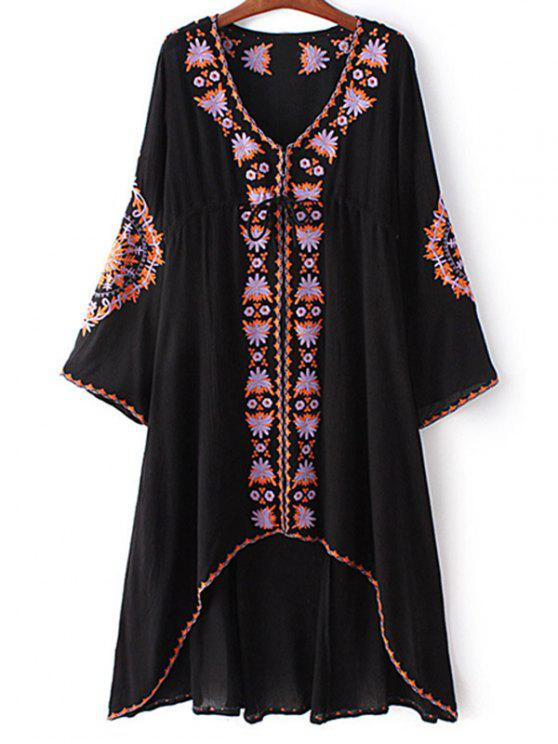 sale High-Low Hem V-Neck Long Sleeve Embroidery Dress - BLACK M