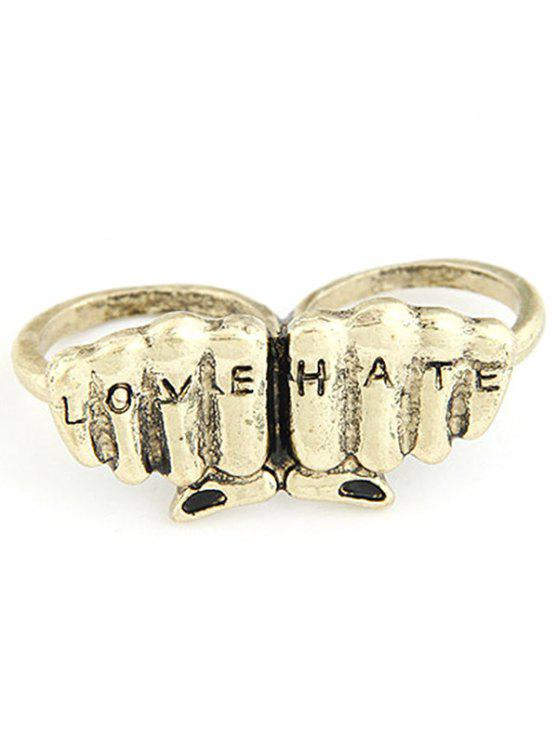 affordable Letters Carve Fist Shape Double Rings - GOLDEN