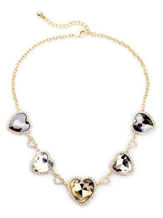 sale Stylish Heart Faux Crystal Necklace - GOLDEN