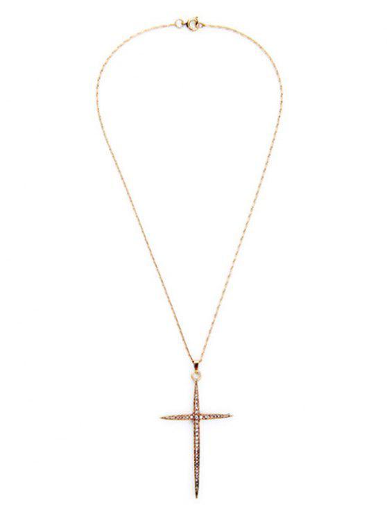 fancy Cross Rhinestone Necklace - GOLDEN