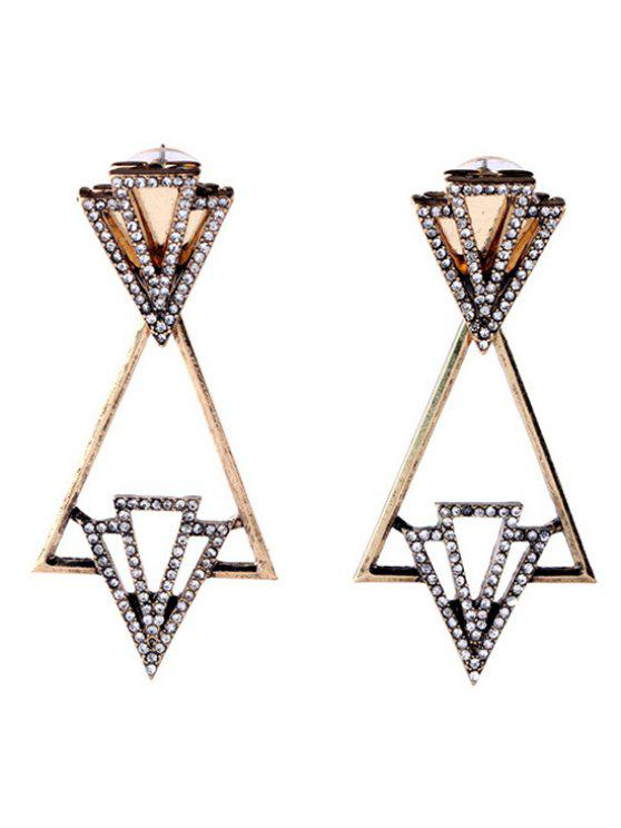 Boucles d'oreilles strass Triangle mode - Or