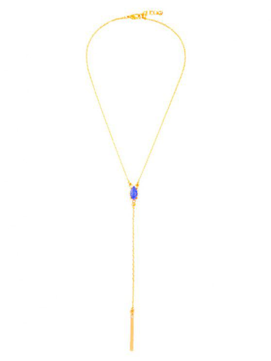 fashion Oval Faux Sapphire Pendant Necklace - GOLDEN