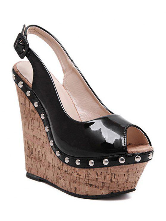 Rivet Slingback Wedge Heel Peep Toe Shoes - Noir 35