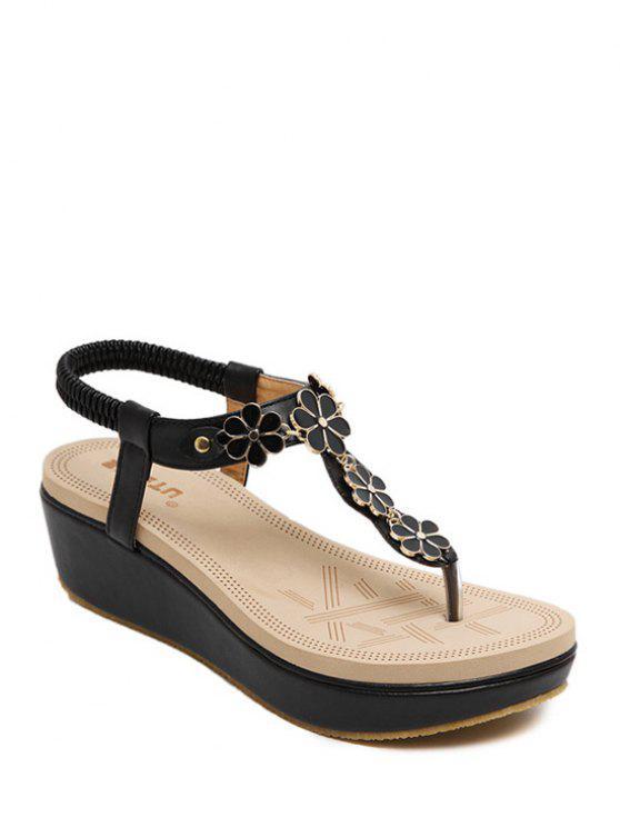 elastische plattform sandalen mit blumen schwarz sandals. Black Bedroom Furniture Sets. Home Design Ideas