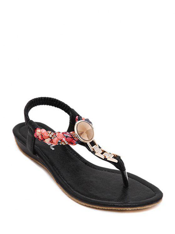 Diamantes de imitación metálicos sandalias de tacón bajo - Negro 40