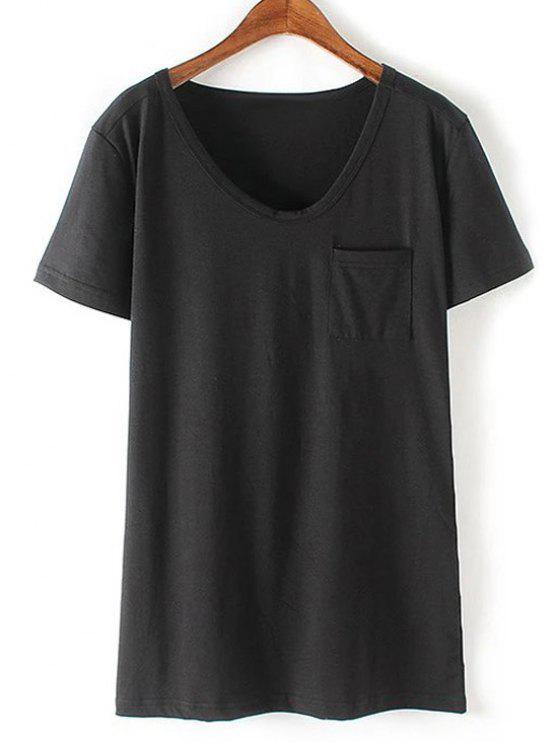 Patchwork-Taschen-Solid Color T-Shirt - Schwarz S