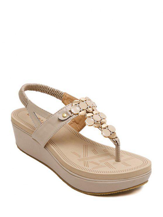 outfit Metallic Elastic Platform Sandals - APRICOT 37