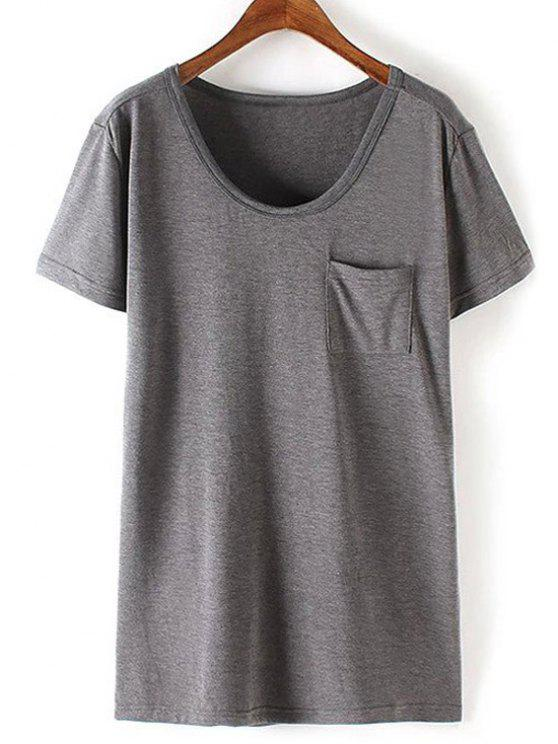 Patchwork Pocket T-Shirt Solid Color - Gris S