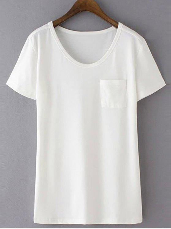 ladies Patchwork Pocket Solid Color T-Shirt - WHITE L