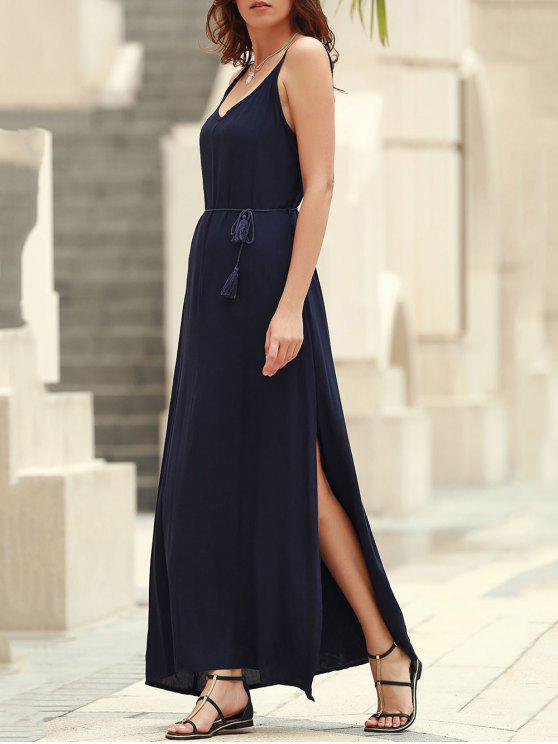 ladies Low Back High Slit Long Flowing Dress - BLUE L