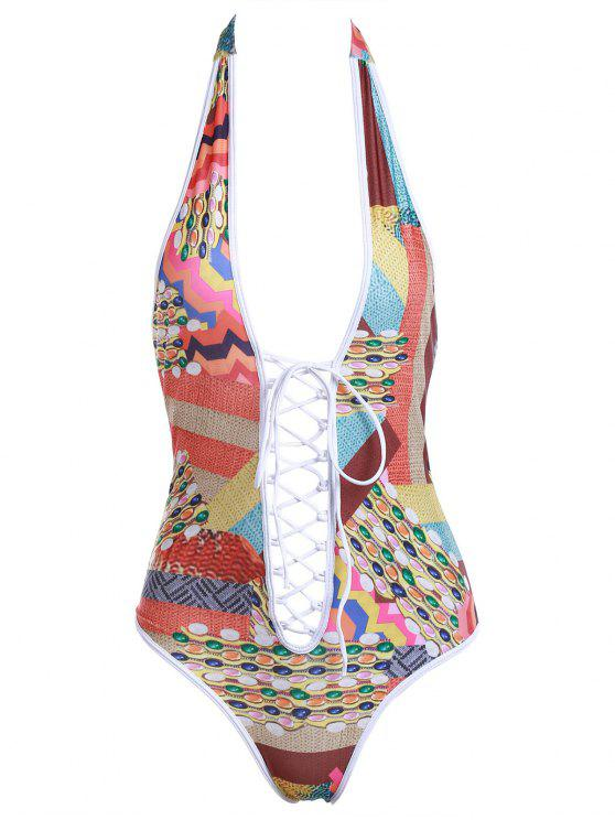 hot Colored Print Halter One-Piece Swimwear - COLORMIX S