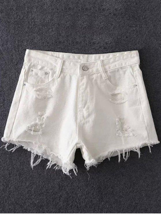 women's Frayed Pocket Design White Shorts - WHITE XL