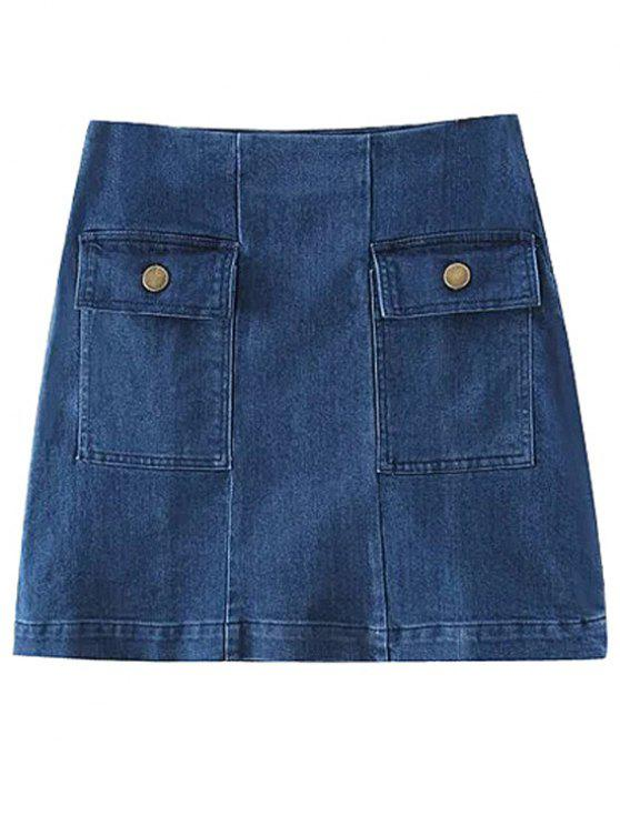 Dos bolsillos Denim Minifalda - Azul M
