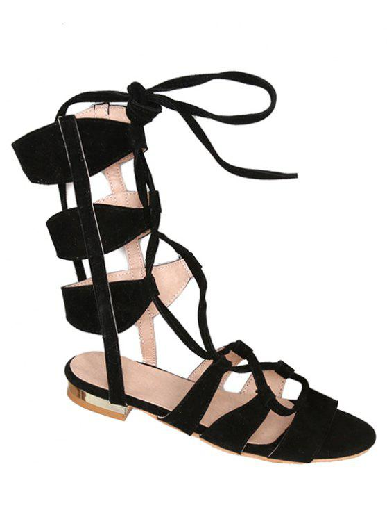 Solid Color Lace-Up High Top Sandals - Preto 38