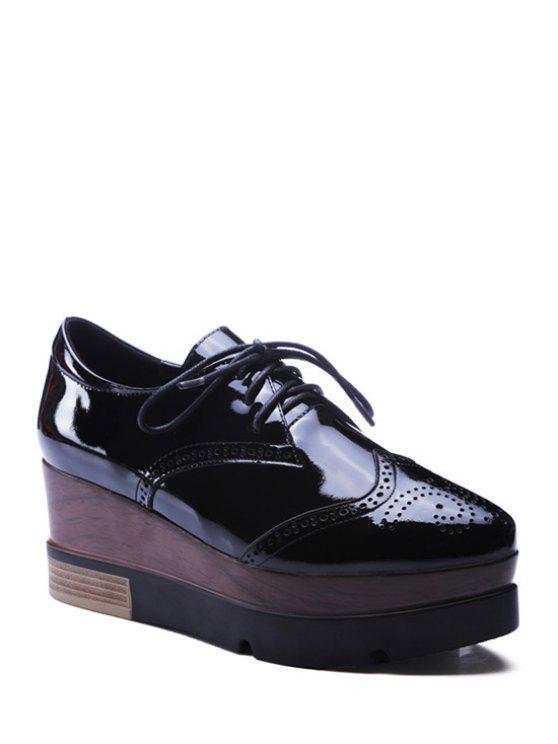 lady Lace-Up Engraving Black Platform Shoes - BLACK 34