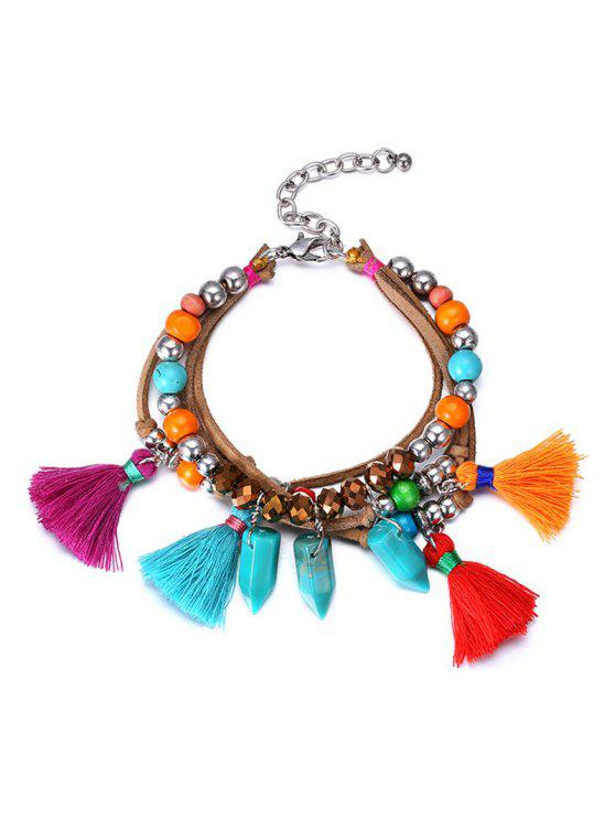Vintage ethnique Bracelet Tassel Perle - Multicolore