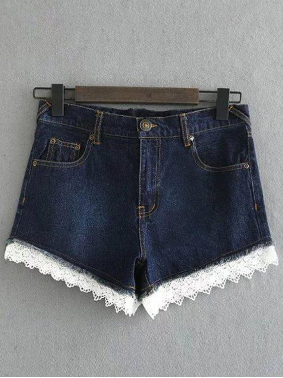 online Lace Denim Shorts - DEEP BLUE M