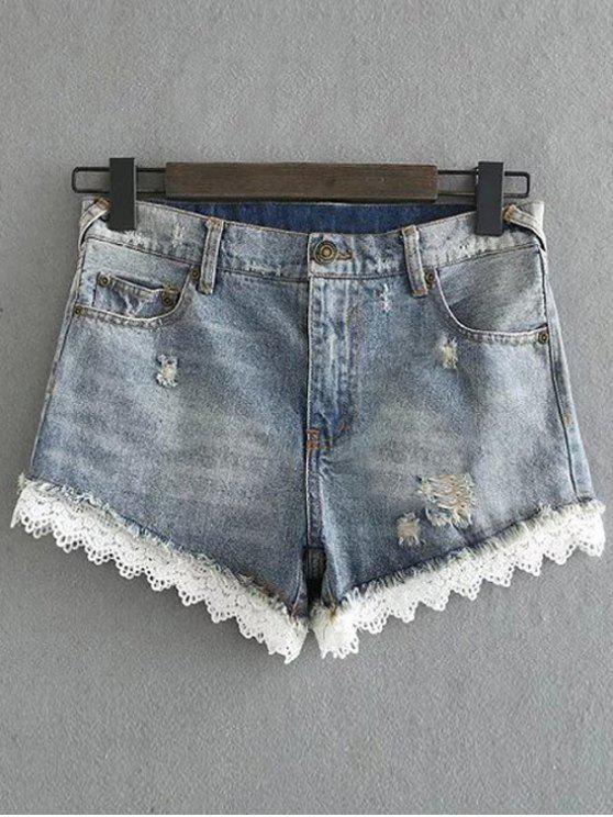 Denim y pantalones cortos de encaje - Azul Claro XL