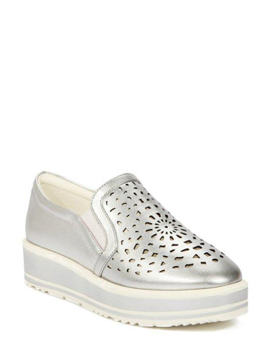buy Hollow Out Slip-On Platform Shoes - SILVER 39