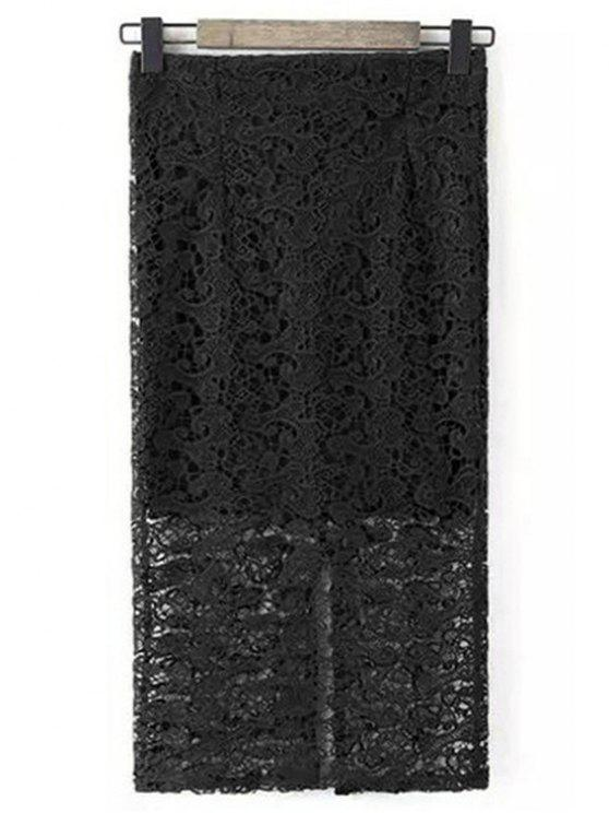 lady Guipure Lace Tube Skirt - BLACK S