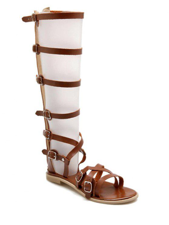 bb16439a204 30% OFF  2019 Buckles High Top Flat Heel Sandals In BROWN