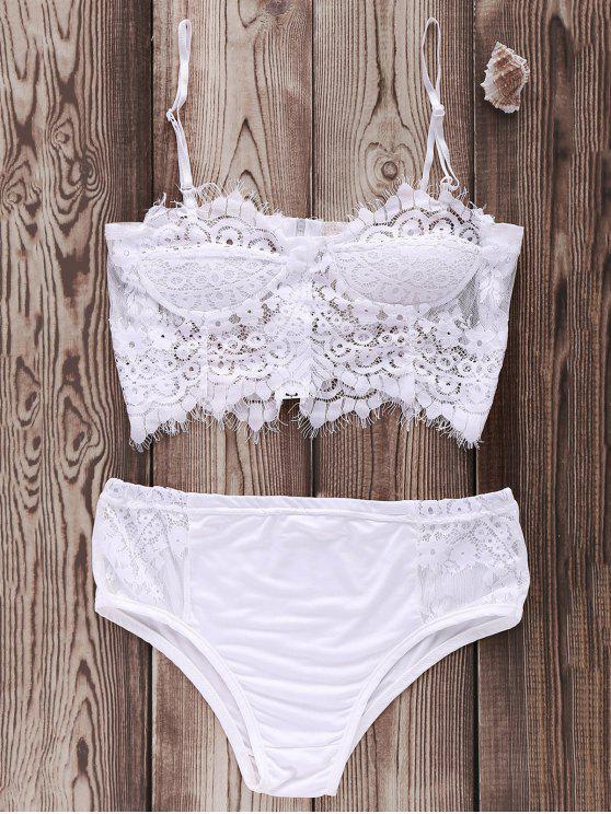 Cami Bikini Set mit Spitze und Schnürsenkel - Weiß L