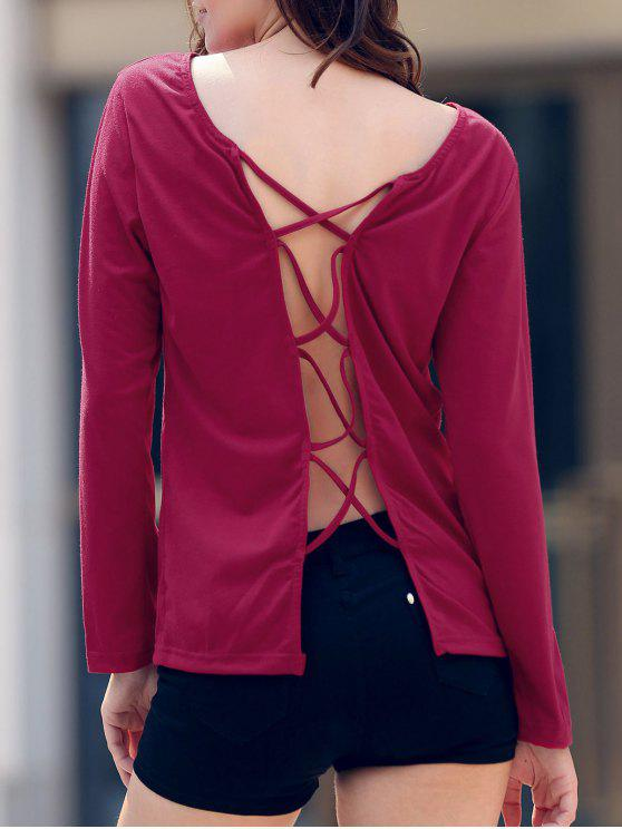 unique Back Criss-Cross Round Collar Long Sleeve T-Shirt - WINE RED L