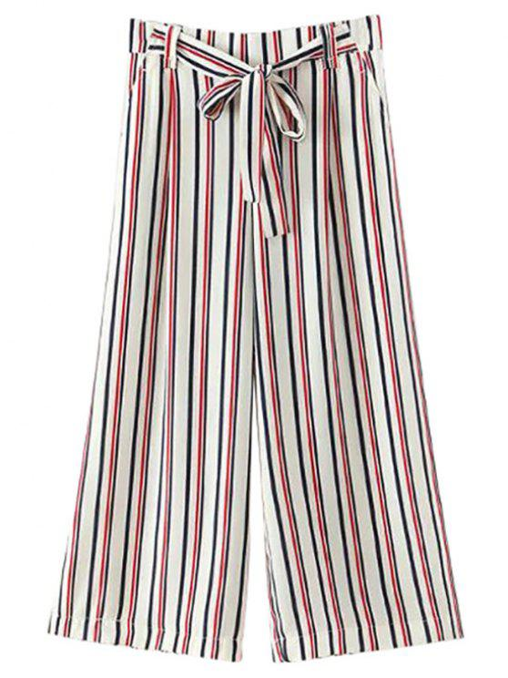 Auto-corbata a rayas pantalones de pierna ancha - Blanco S