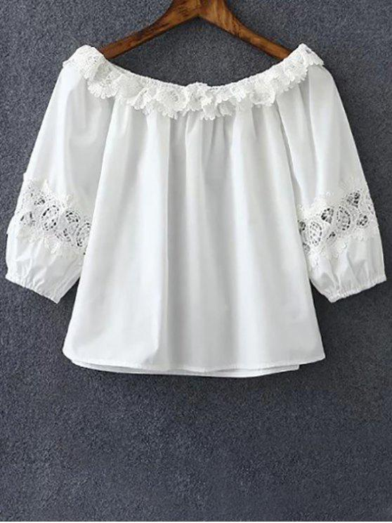 women Cropped Boat Neck Openwork Lace Spliced Blouse - WHITE M