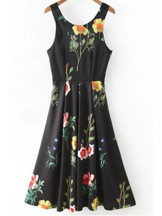 Impresión floral de la cucharada Vestido entallado cuello - Negro L
