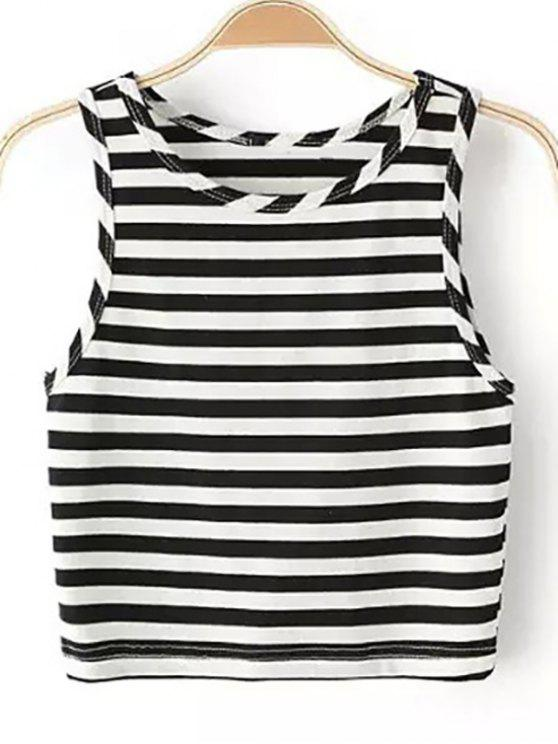trendy Striped Round Collar Cropped Tank Top - BLACK S
