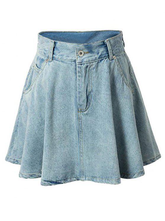 Una línea de diseño del bolsillo mini falda - Azul Claro S