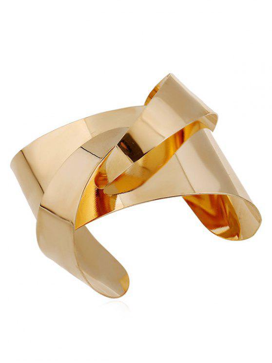 hot Mirror Side Twisted Cuff Bracelet - GOLDEN